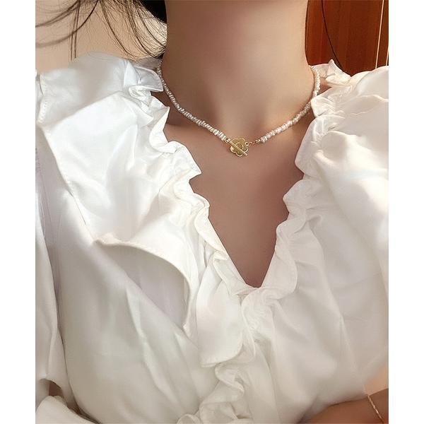ネックレスパール&花ネックレス