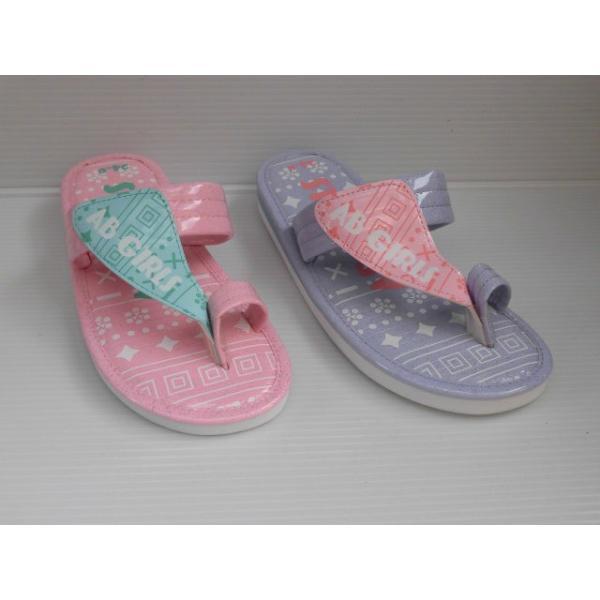 水濡れOK プール 海水浴 ビーチ サンダル  指付き ベンハー サンダル AB GIRLS  AB6860 ピンク パープル キッズ 女の子