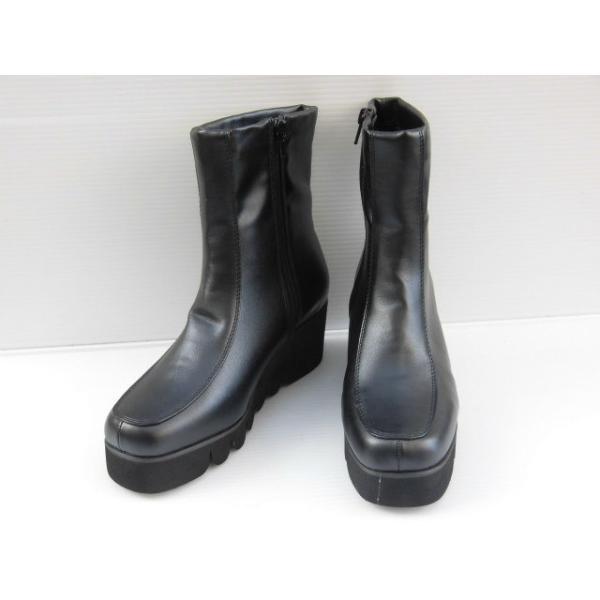 厚底 耐水 Michaela La Spada FR6047 黒PU 婦人 レディース ショートブーツ