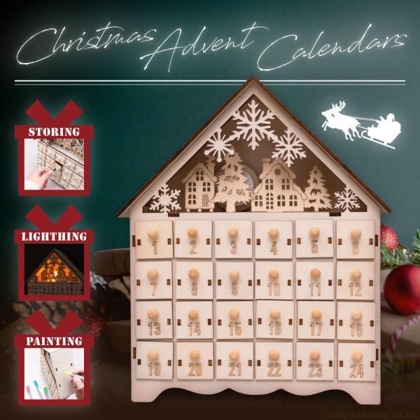 アドベントカレンダー クリスマス プレゼント 木製 ライト サンタ インテリア 北欧 かわいい キッズ 子供 お菓子 おかし カレンダー こども アドベント