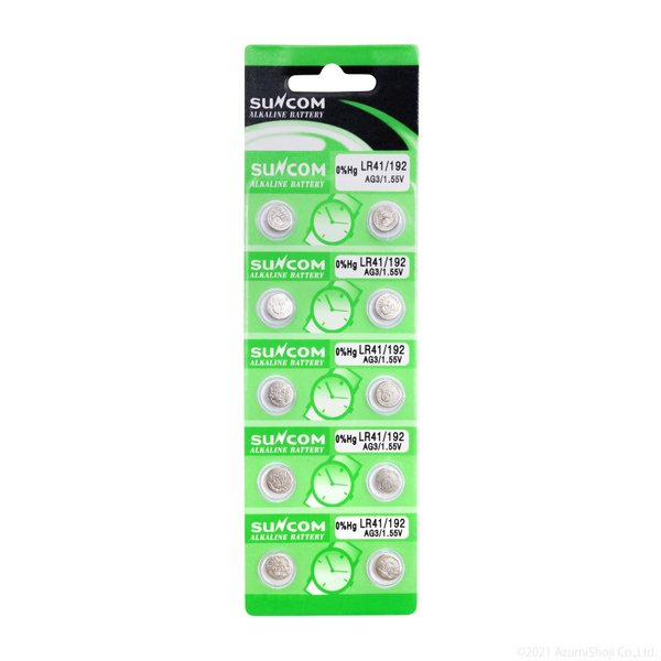 LR41 ボタン電池 電池10個セット 電卓や時計などに! SUNCOM