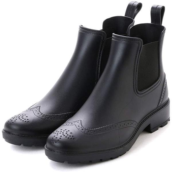 アシスタント レインブーツメンズレインシューズサイドゴアブーツビジネスシューズウイングチップ長靴(ブラック,25.0cm)