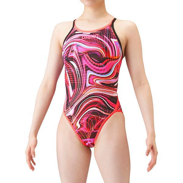 【P2倍+10%OFFクーポン】◎▽▽21年 アリーナ ジュニア競泳水着 練習用 スーパーフライバック ガールズ/女の子 SAR-1123WJ BKPK