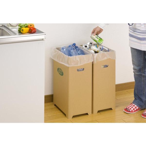 下村企販 分別 ゴミ箱 ダンボール ダストボックス 脚付き 2個組 45リットル ゴミ袋 対応 16048|zzoo|03