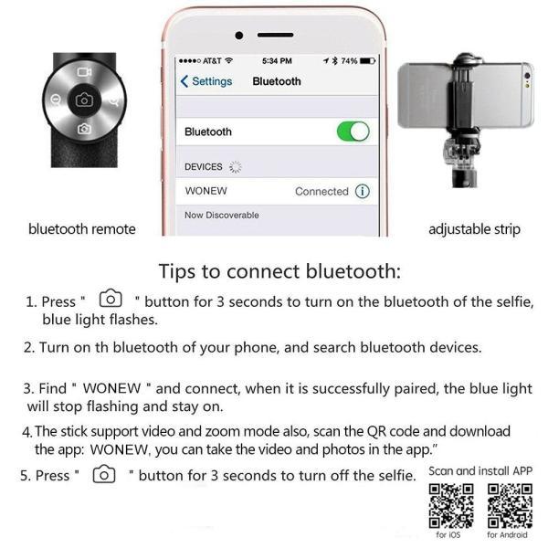 ブルートゥース自撮り棒 Hizek ワイヤレスセルカ棒 無線リモコン 三脚付 アルミニウム合金 iPhone Android対応