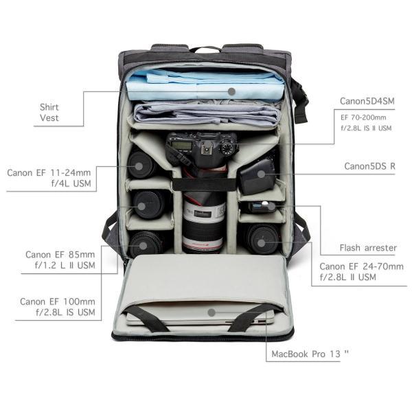 (バッグスマート)BAGSMART?カメラバッグ?一眼レフ カメラリュック 大容量 多機能 三脚取付可?13インチPC収納 レインカバー 2