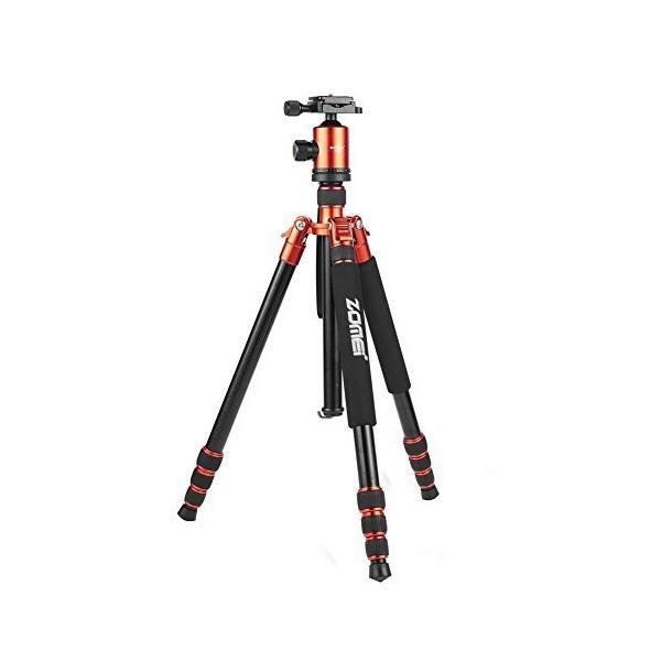 ZOMEI Z888 軽量 三脚 一脚としても使える三脚 ボールヘッド クイックシュー 専用バッグ付き (Orange)