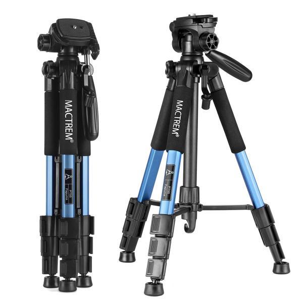 カメラ三脚 コンパクト三脚 Mactrem PT55 レバー式 4段 小型 軽量 3Way雲台 水準器 クイックシュー付き アルミ製 旅行