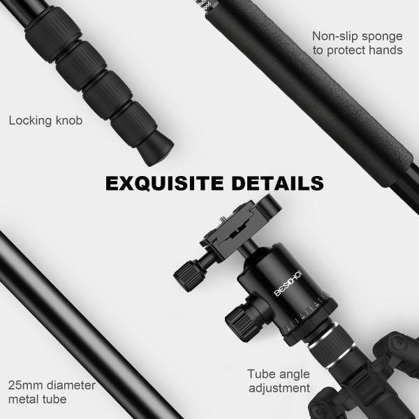 Beschoi 三脚 4段 軽量 コンパクト 自由雲台 デジタルカメラ 一眼レフ用 アルミ合金製 クイックシュー式 レバーロック 水平器 折