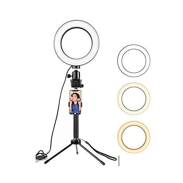 """6.3""""/16cm 自撮りライト ランプ フォトカメラ ライブフィル ライト,Sosoon 三脚自分撮りスティックミニLEDカメラリングライ"""