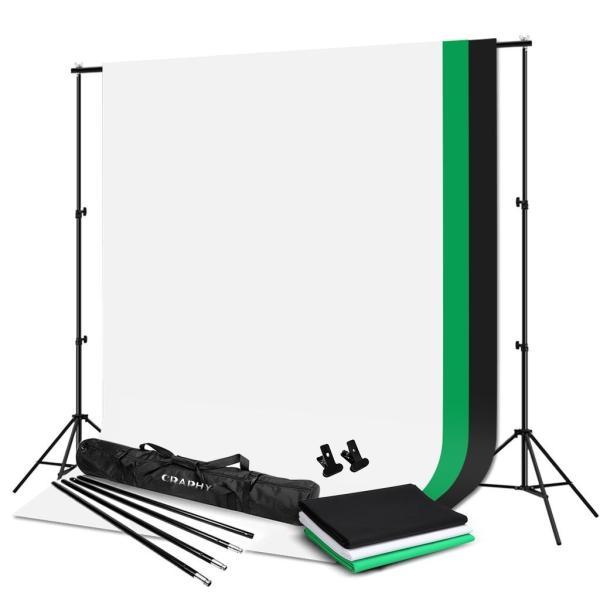 CRAPHY 背景スタンドキット 写真撮影用 背景サポートシステム 背景スタンド(2*3m)+三色モスリンコットン背景布(1.8*3m)+強