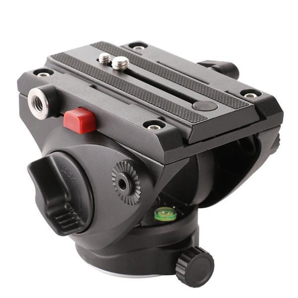 FOTGA Pro 油圧式雲台 水準器 クイックシュー付き ビデオ撮影用 三脚/スライダーレール適用 ダンピングベース直径 62mm