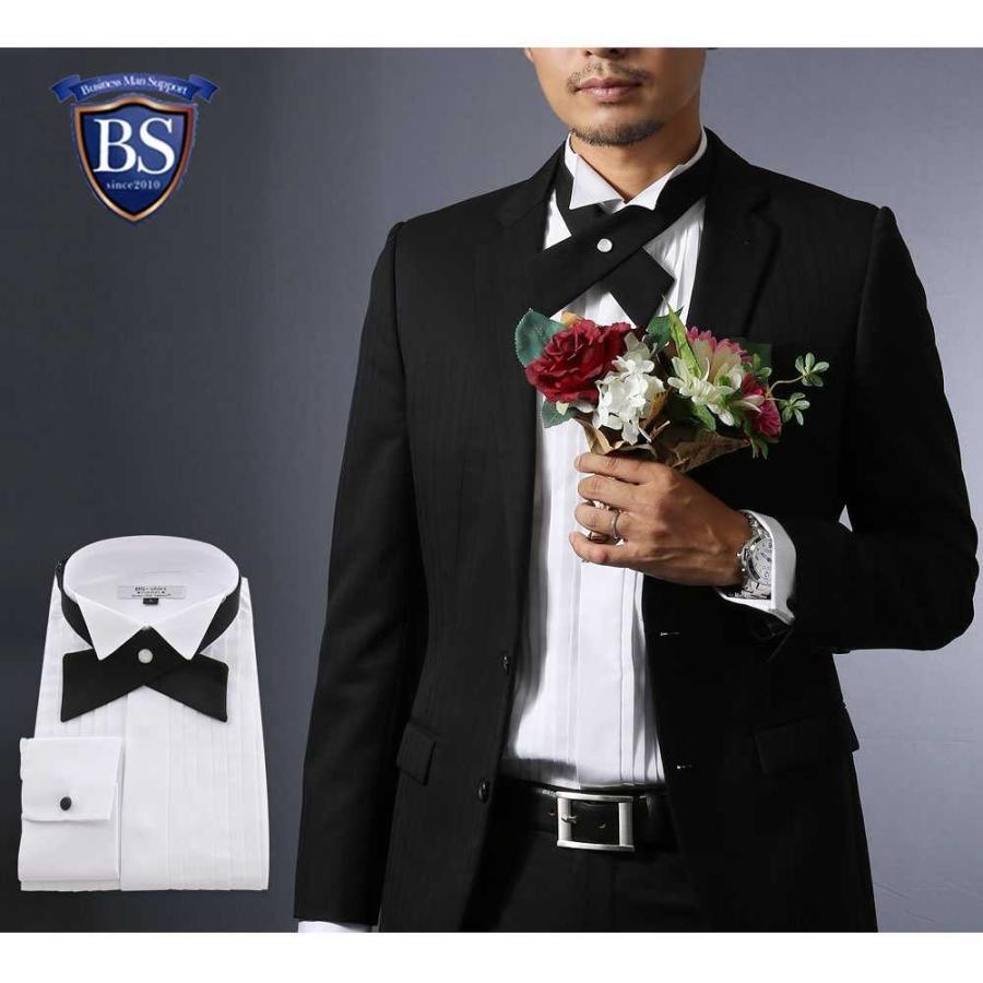 ワイシャツ ウィングカラー メンズ クロスタイ付 フォーマル 長袖 結婚式 パーティ 形態安定 スリム|0306|13