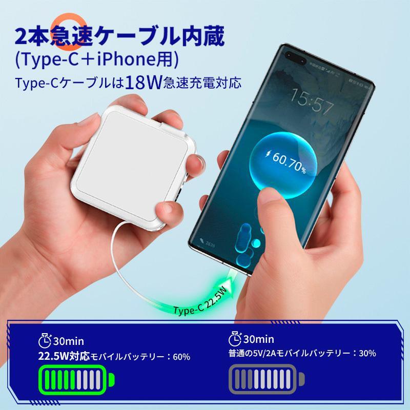 モバイルバッテリー PD対応 15000mAh 18W 大容量 折畳みプラグ PD3.0 急速充電USB-c&Lightningケーブル内蔵コンセントLCD残量表示 1097212fah03 02