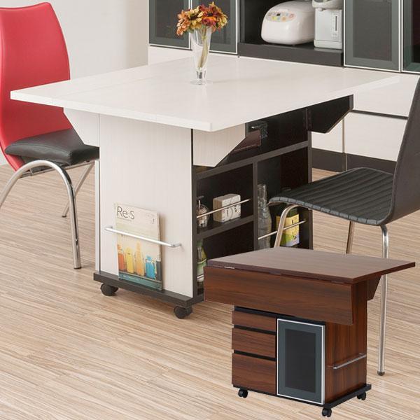 バタフライ カウンターテーブル 移動式 キッチンワゴン 幅89.5cm キャスター付き 日本製 完成品 NO-0066/NO-0067