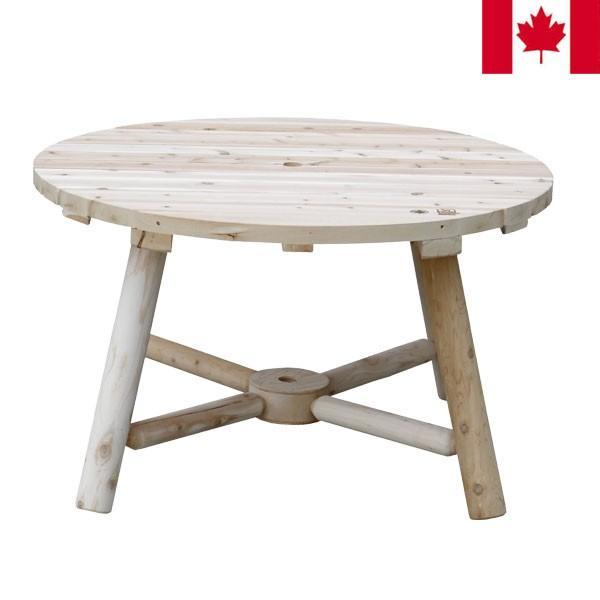 ラウンドパラソルテーブル パラソルテーブル 木製 幅120cm NO13A カナダ製 CEDAR LOOKS シダールックス カナディアンログファニチャー