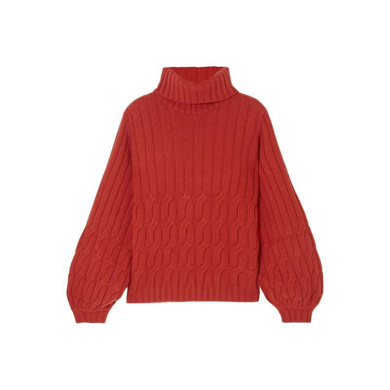 JOHANNA ORTIZ タートルネック  レディースファッション  ジャージ、スウェット  ジャージ、スウェットトップス 赤茶色