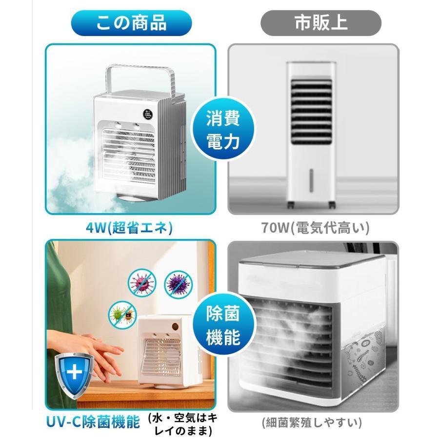 1年保証 冷風扇 充電式 扇風機 首振り ミニ冷風機 小型 卓上冷風機 加湿器 コンパクト 静音 ミニクーラー 夏 3段階風量調節 角度調整可能 熱中症対策 LEDライト 1kselect-y1 16