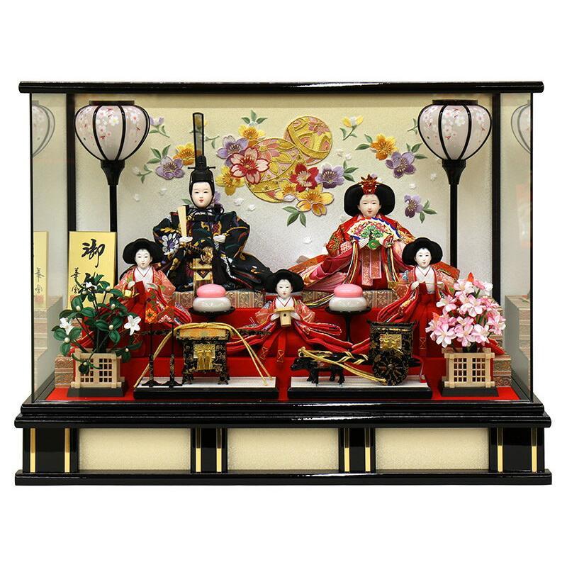 雛人形 ひな人形 雛 ケース飾り 五人飾り 御雛 小三五親王 オルゴール付 h313-fz-3330-82-007f