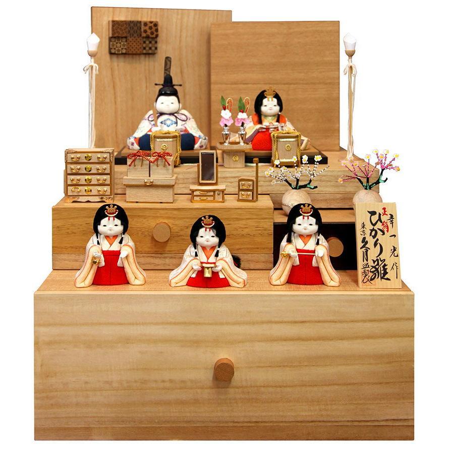 木目込人形飾り 収納飾り 五人飾り 幸一光作 ひかり雛