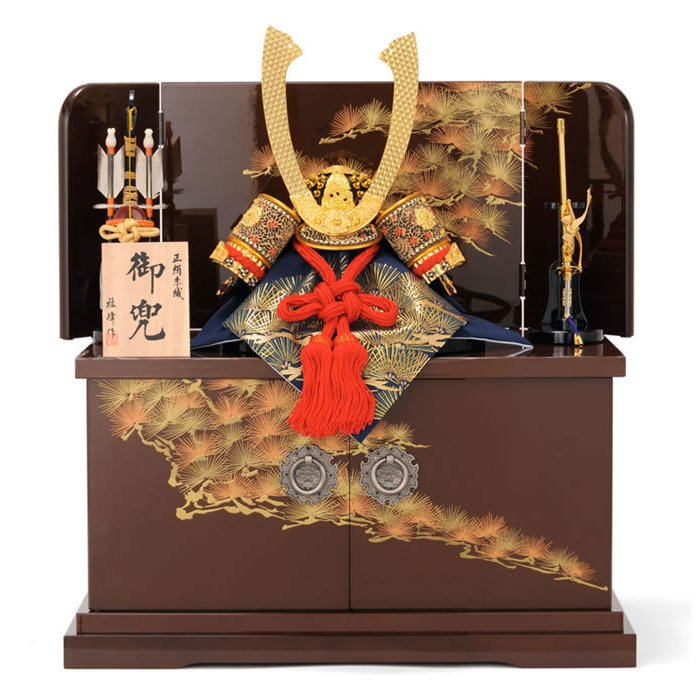五月人形 兜収納飾り 兜飾り 雅峰作 正絹糸縅 御兜 h235-fz-61-268