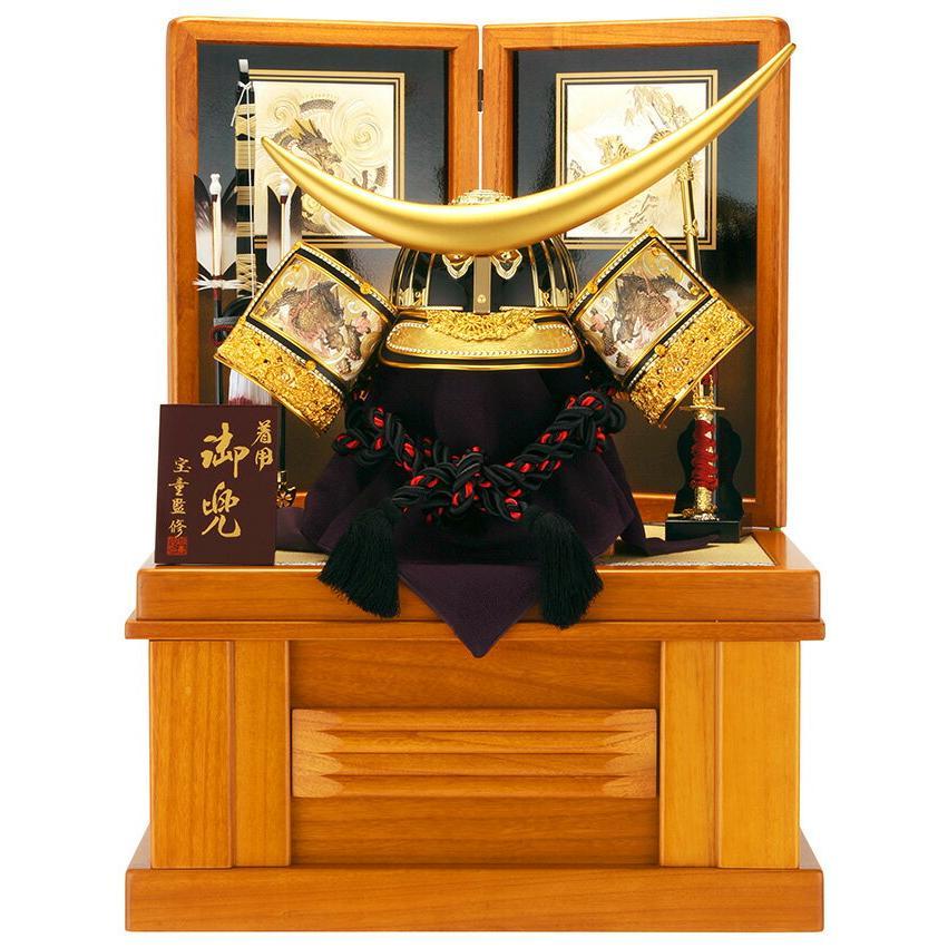 五月人形 着用兜飾り 収納飾り 伊達政宗 彫金伊達着用兜 h265-mmcp-105z