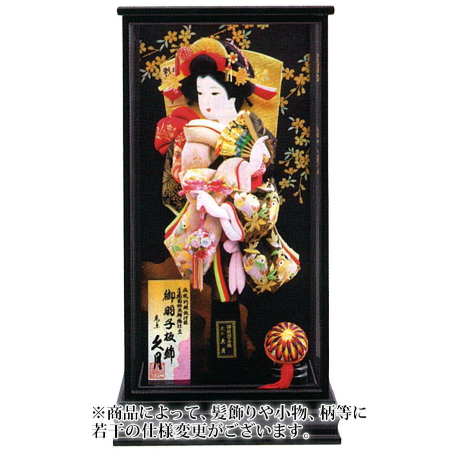 ケース飾り 山桜 刺繍振袖 手描面相本押絵仕立 15号 黒艶消面取ケース