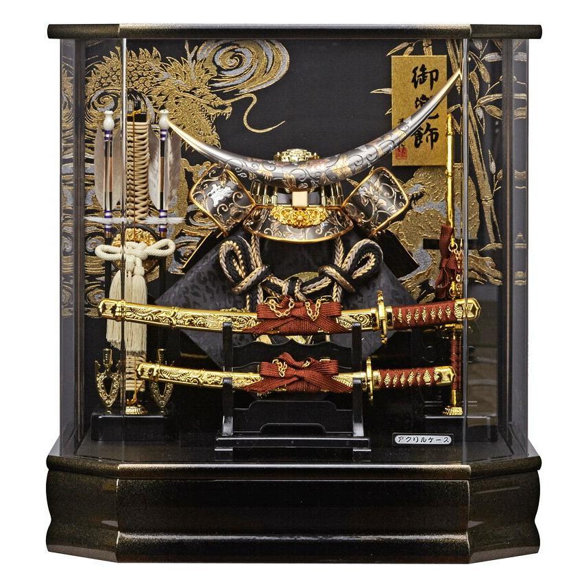 五月人形 伊達政宗 兜ケース飾り 兜飾り 藤翁作 六角勝輝 アクリルケース オルゴール付 h035-fn-165-743