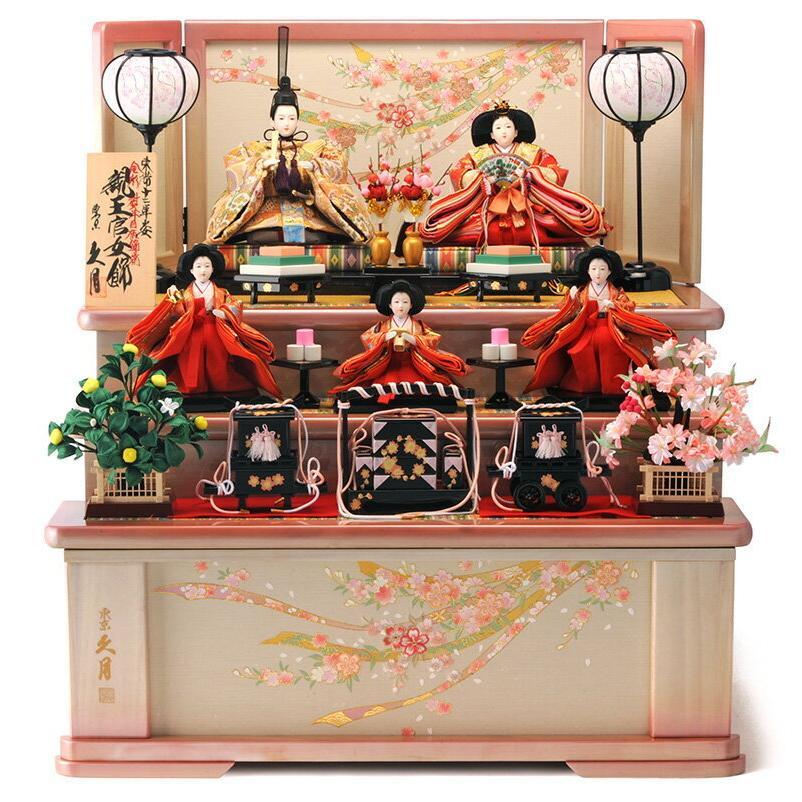 華麗 収納飾り 三段飾り 雛人形 五人飾り ひな人形 久月-記念、行事用品