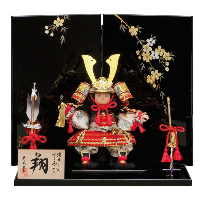 五月人形 子供大将飾り 武者人形 平飾り 寿喜代監製 翔 金彩桜衝立 h305-sk-179-5521