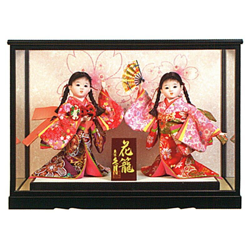 浮世人形 ケース飾り 福印7 花かご二人