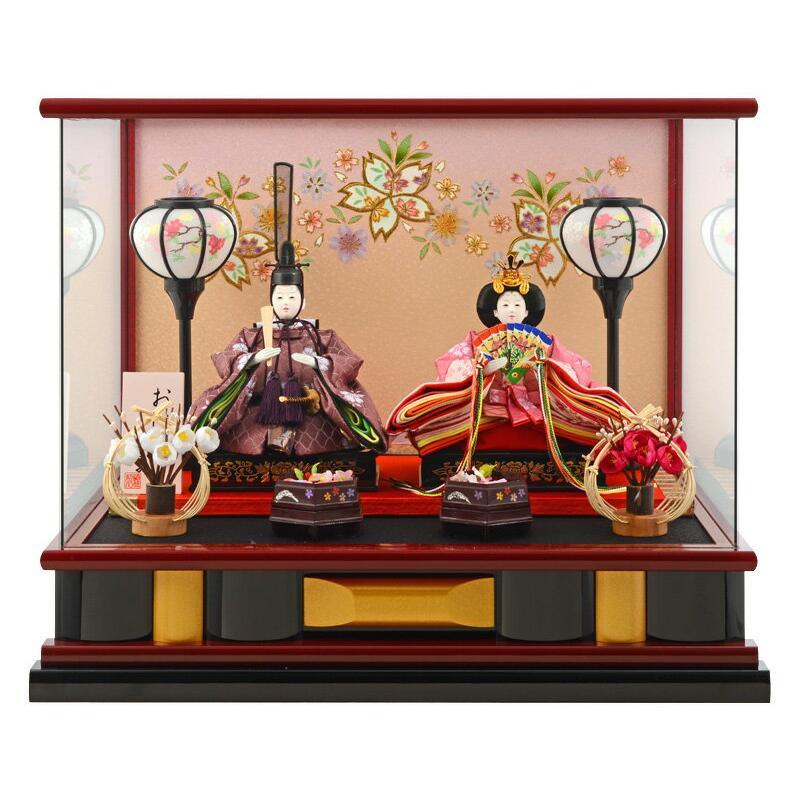 ひな人形 雛人形 親王飾り ケース飾り h273-wt-14-55