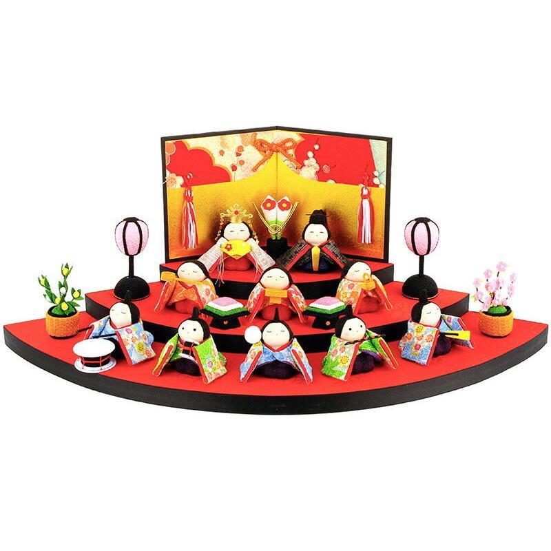 雛人形 リュウコドウ コンパクト ひな人形 雛 三段飾り 十人飾り 別注 ワラベ雛 h283-rkcp-1-344