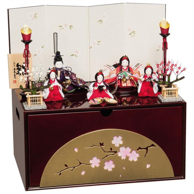 人気商品は まめ親王 まめ官女揃 h303-mo-303822 平安豊久 コンパクト収納飾り 雛人形 寿々 ひな人形 HC-081 五人飾り-季節玩具