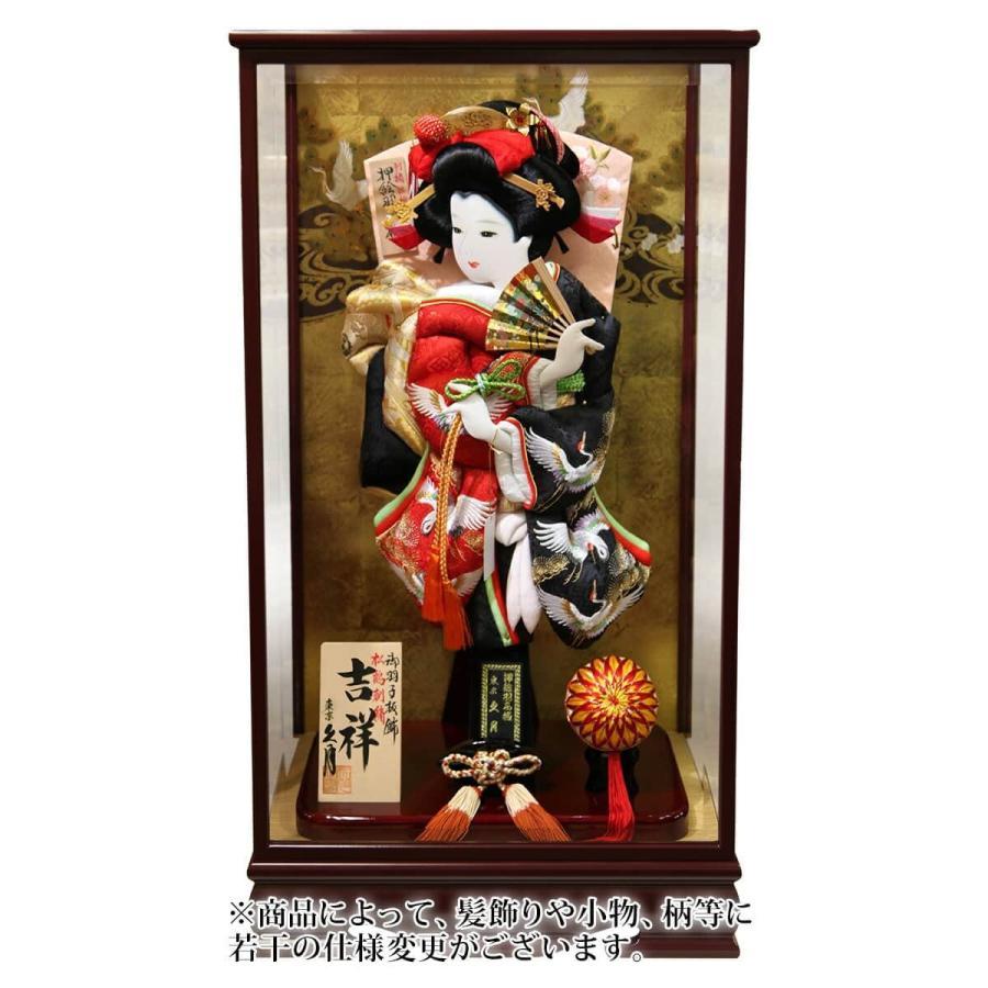 ケース飾り 吉祥 鶴寿 松に鶴刺繍振袖 18号 木製面取ケース
