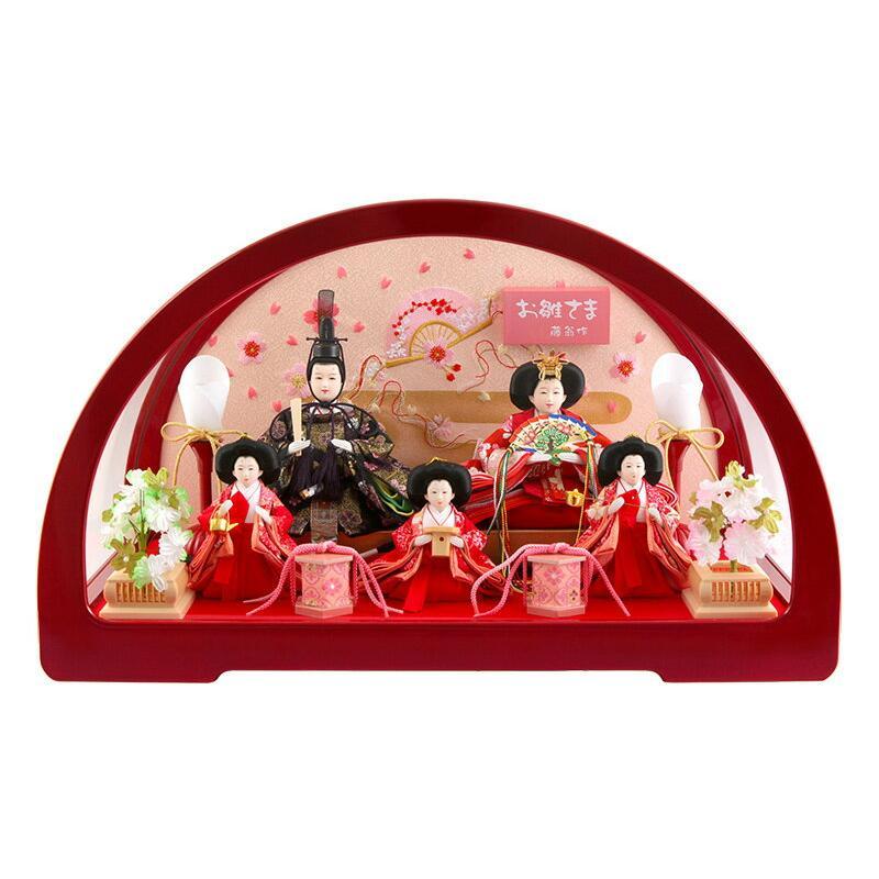 雛人形 コンパクト ひな人形 雛 ケース飾り 五人飾り 藤翁作 円華 豆五人 赤 金襴仕立 アクリルケース h313-fn-193-565