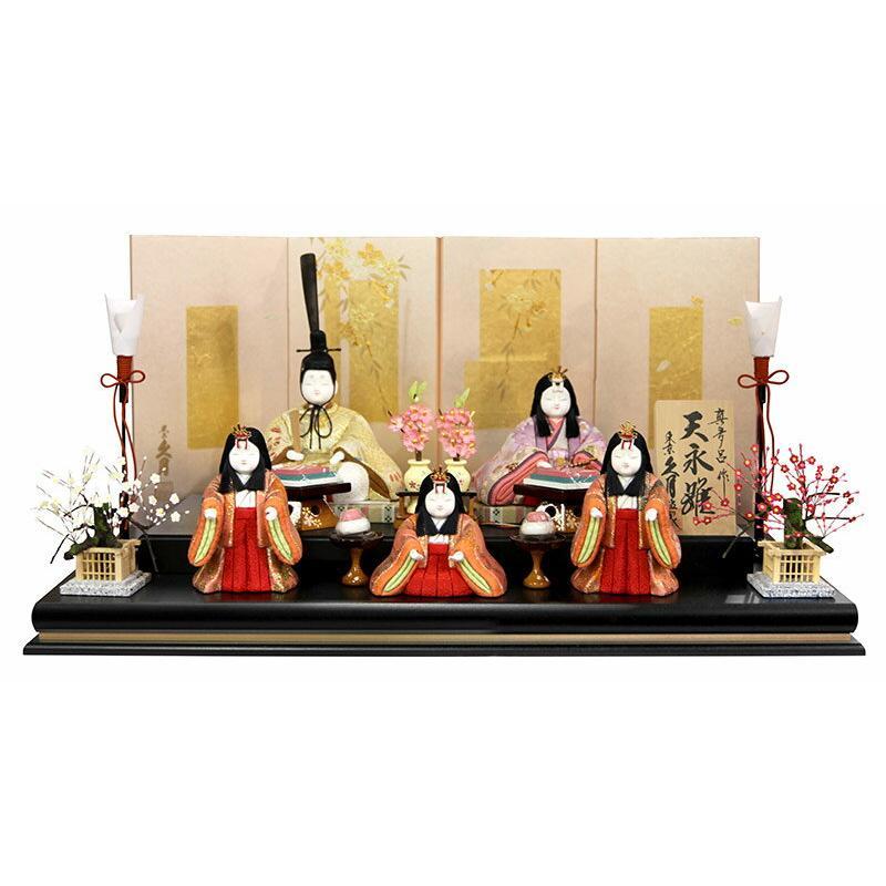 木目込人形飾り 段飾り 五人飾り 真多呂作 天永雛