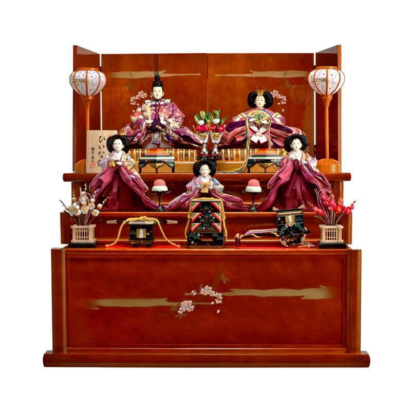 激安通販 雛人形 三段飾り 五人飾り ひな人形 収納飾り hs-10-70-3hinoki-記念、行事用品