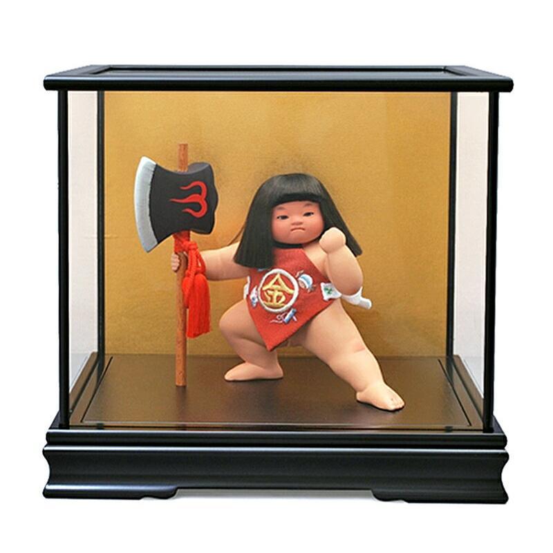五月人形 幸一光 松崎人形 金太郎 武者人形 ケース飾り 七号 裸金太 凛 鉞立て 黒塗カブセケース h315-koi-5001