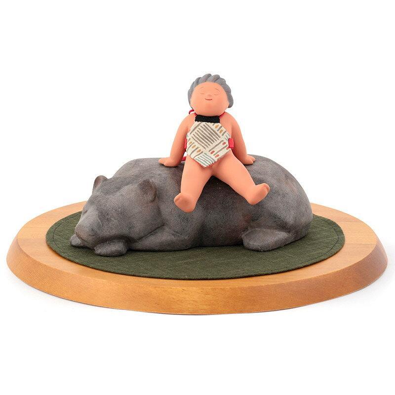五月人形 幸一光 松崎人形 金太郎 武者人形 出飾り 熊のり金太 楽 木製丸台付 h315-koi-ww90