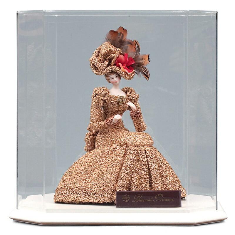 西洋人形 フランス人形 仏蘭西人形 ケース入り人形 寿喜代作 ビスクロマン ゴールド アクリルケース付 sk-brk36