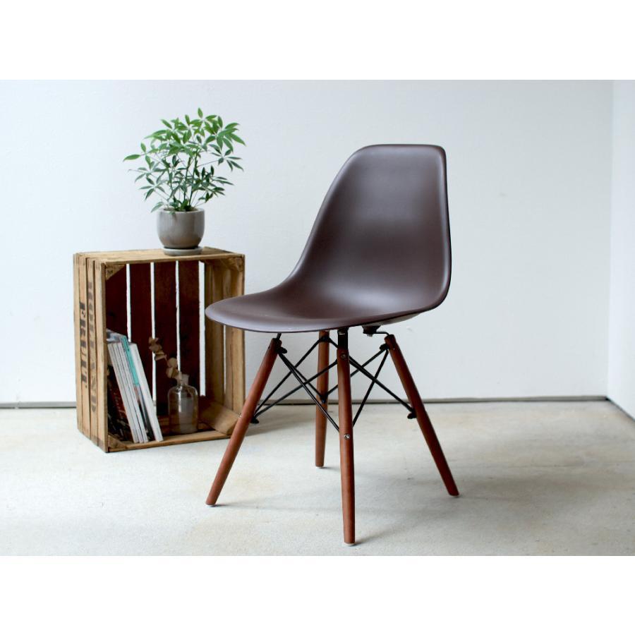 イームズチェア シェルチェア ウッドベース 椅子 イス DSW eames ブラウン木脚 リプロダクト ダイニングチェア MTS-032(BR)|3244p|02