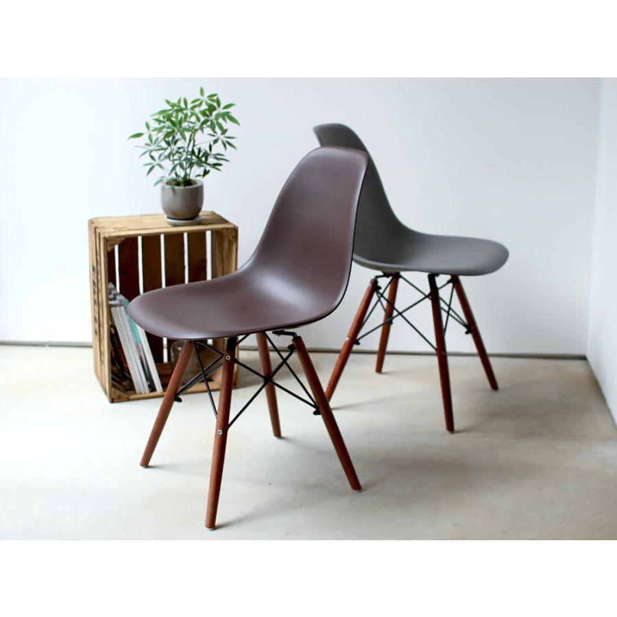 イームズチェア シェルチェア ウッドベース 椅子 イス DSW eames ブラウン木脚 リプロダクト ダイニングチェア MTS-032(BR)|3244p|03