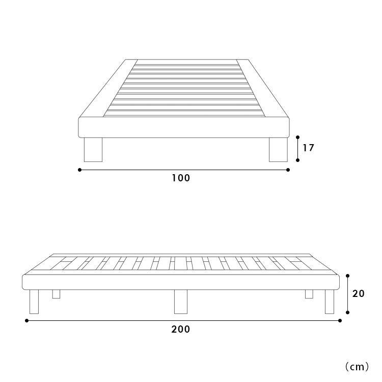 ベッドフレーム ベッド シングル W100 無垢材(パイン材) ヘッドレス すのこベッド 北欧 シンプル ナチュラル MTS-097|3244p|16