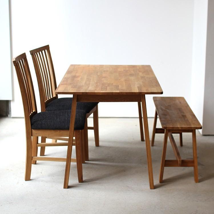ダイニングテーブルセット 4点 4人 ダイニングセット オーク テーブル W1200 チェア2脚 ベンチ1台 MTS-086、MTS-092、MTS-090|3244p|02