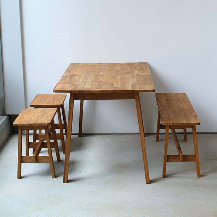 ダイニングテーブルセット 4点 4人 ダイニングセット オーク テーブル W1200 スツール2脚 ベンチ1台 MTS-086、MTS-089、MTS-090|3244p|07