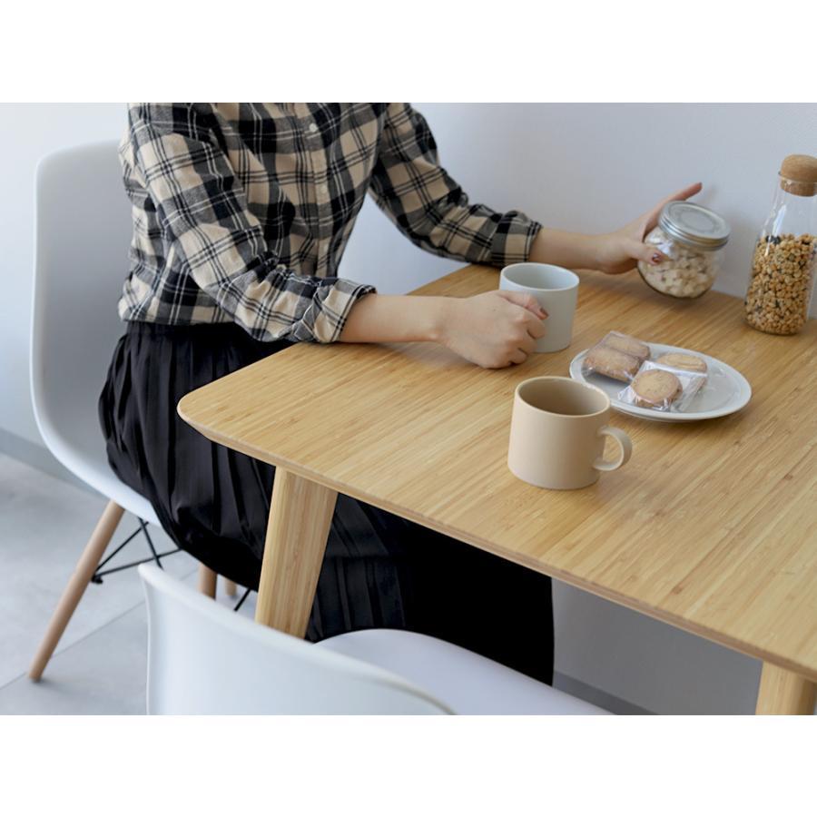 ダイニングテーブルセット 3点 2人 ダイニングセット 竹製 バンブー ダイニングテーブル W750 シェルチェア 15色 同色2脚セット MTS-085、MTS-032 WH|3244p|10