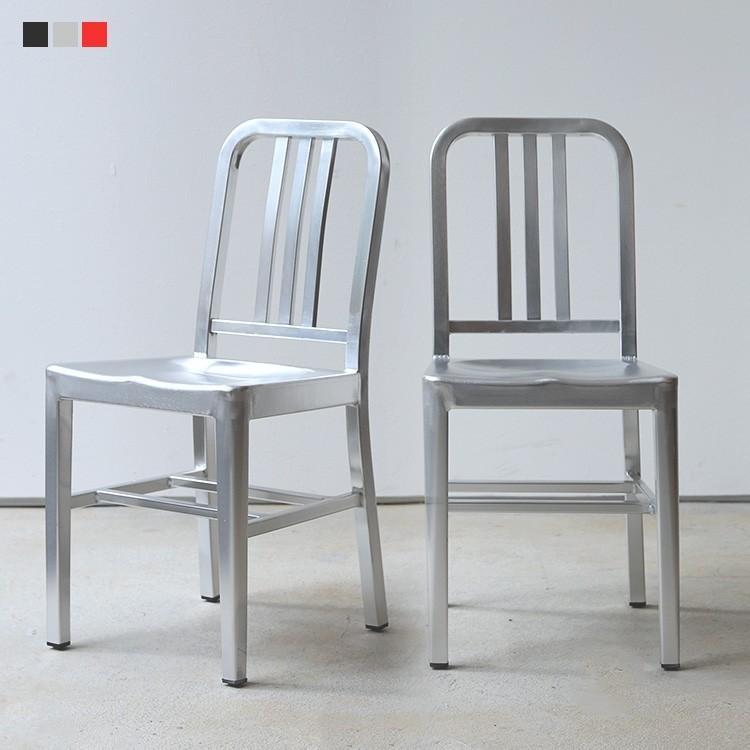ネイビーチェア 2脚セット リプロダクト 椅子 イス ダイニングチェア レッド アルミ ブラック MTS-056 3244p