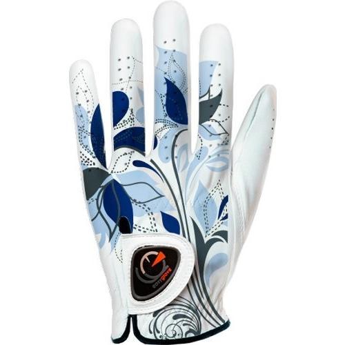 easyglove SPRING_FLORA-青-Wウィメンズゴルフグローブ(ホワイト)、大きい、左手に着用