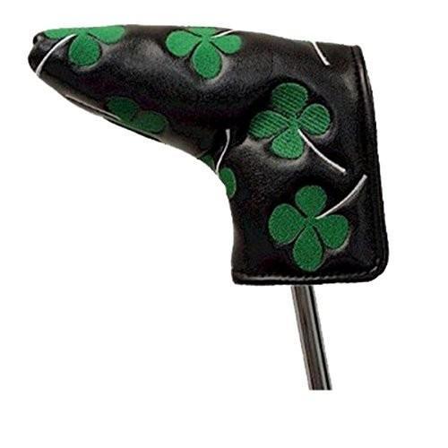 アンサーとブレードスタイルパターのためのJP Lann四葉のクローバーシャムロックゴルフクラブヘッドカバー(ブラック/グリーン)